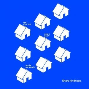 Graphic showing 9 houses with text to promote the idea of sharing kindness.